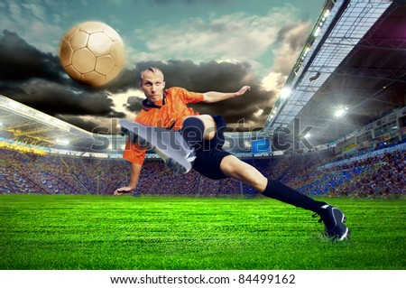 Football player on field of stadium