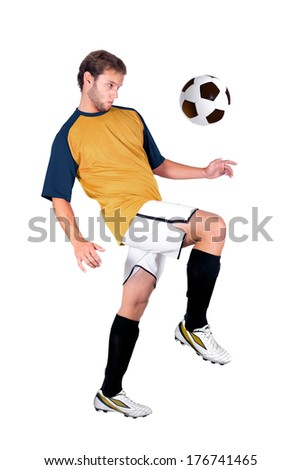 Football player playing isolated in white - stock photo