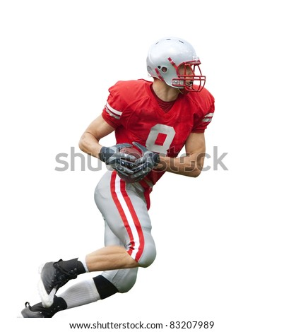 football Player running with the ball isolated on a white background - stock photo