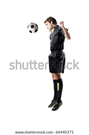 Football player shooting a ball with his hand - stock photo