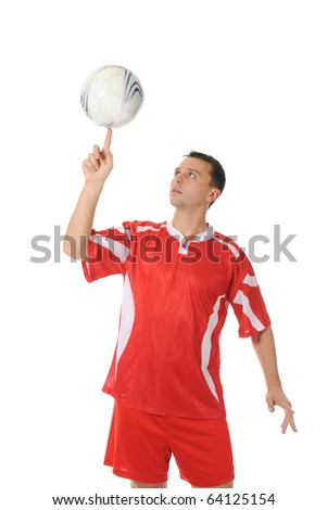 Football player spinning ball on fingerlens. Isolated on white background