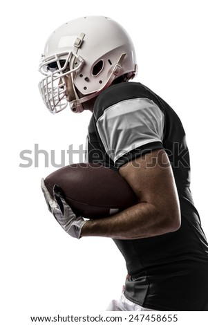 Football Player with a black uniform Running on a white background.