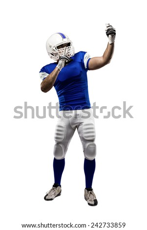 Football Player with a blue uniform making a selfie on a white background.
