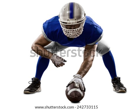 Football Player with a blue uniform on the scrimmage line, on a white background. - stock photo