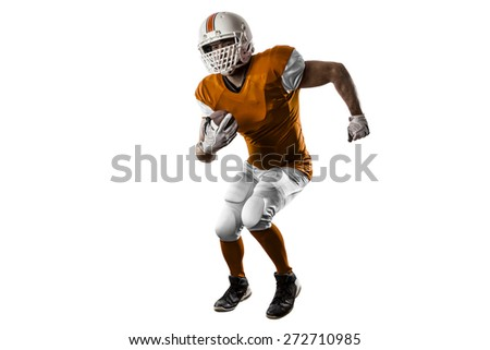 Football Player with a orange uniform Running on a white background.