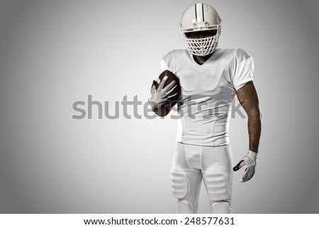 Football Player with a white uniform on a white background. - stock photo