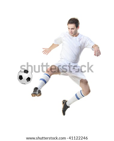 Football player with ball isolated against white background - stock photo