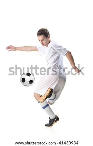 Football player with ball isolated against white background