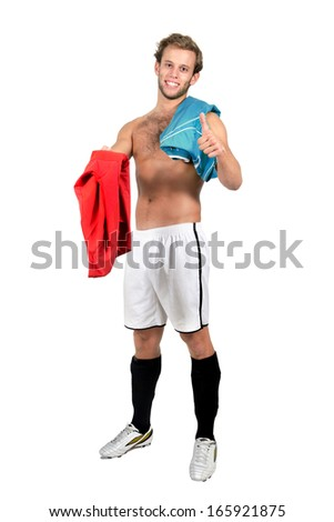 Football player with fair-play, exchanging jerseys - stock photo