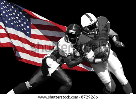 Football players and American Flag isolated over black.