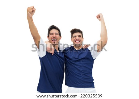 Football players celebrating a win over white background - stock photo