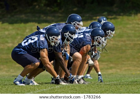 Football players. The Front Line - stock photo