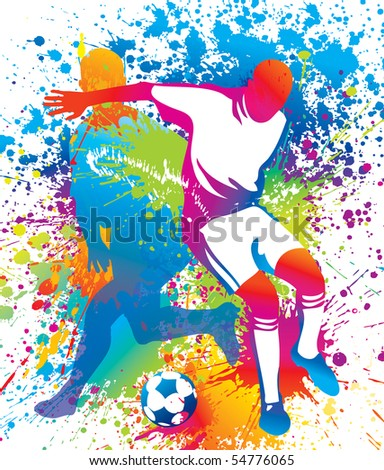 Football players with a soccer ball. - stock photo