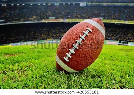 Football Ready for kickoff (close view) - stock photo