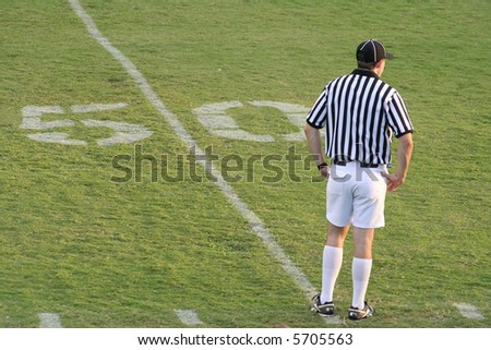 Football referee stands on the 50-yard line anticipating the coming players. - stock photo