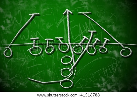 Football running play strategy on green chalkboard. Playbook diagram concept. - stock photo