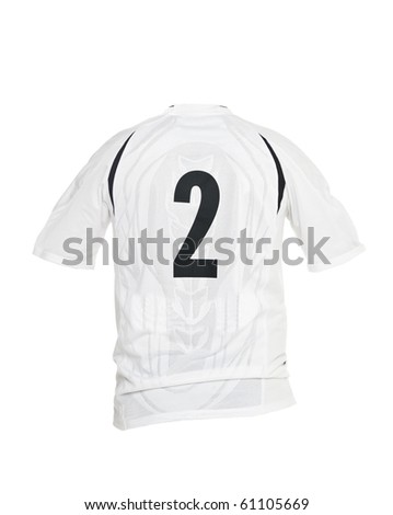 Football shirt with number 2 isolated on white background