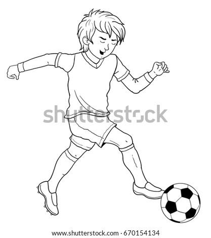 Football Soccer Cute Footballer Coloring Book Stock