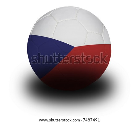 Football (soccer ball) covered with the Czech flag with shadow on a white background.  Clipping path included. - stock photo