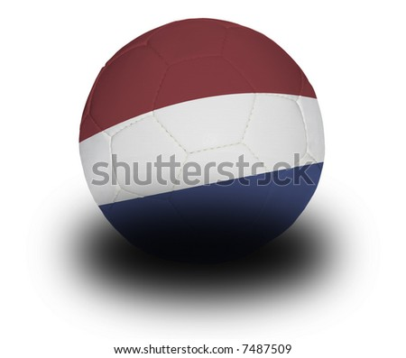 Football (soccer ball) covered with the Dutch flag with shadow on a white background.  Clipping path included. - stock photo