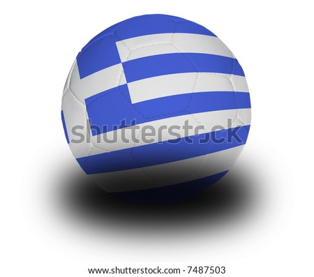 Football (soccer ball) covered with the Greek flag with shadow on a white background.  Clipping path included. - stock photo