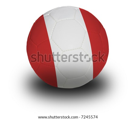 Football (soccer ball) covered with the Peruvian flag with shadow on a white background.  Clipping path included.
