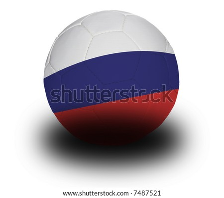 Football (soccer ball) covered with the Russian flag with shadow on a white background.  Clipping path included. - stock photo