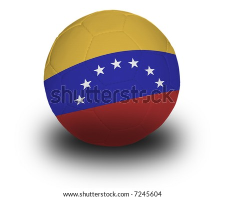 Football (soccer ball) covered with the Venezuelan flag with shadow on a white background.  Clipping path included.