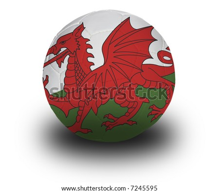 Football (soccer ball) covered with the Welsh flag with shadow on a white background.  Clipping path included.