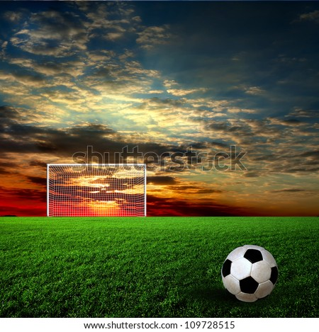 Football, soccer ball on green grass at sunset - stock photo