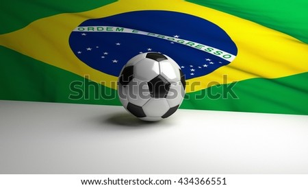 Football / soccer ball standing with brazilian flag in background. 3D render. - stock photo
