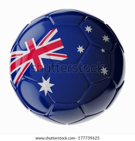 Football/soccer ball with flag of Australia. 3D render - stock photo