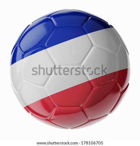 Football/soccer ball with flag of France. 3D render - stock photo