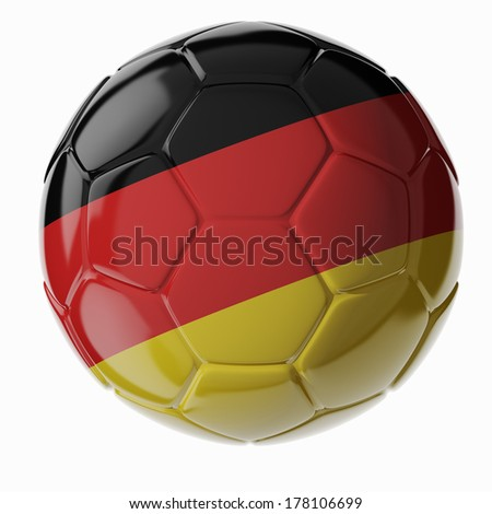 Football/soccer ball with flag of Germany. 3D render - stock photo
