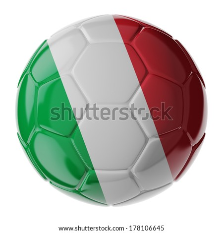 Football/soccer ball with flag of Italy. 3D render - stock photo