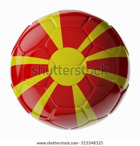 Football soccer ball with flag of Macedonia. 3D render