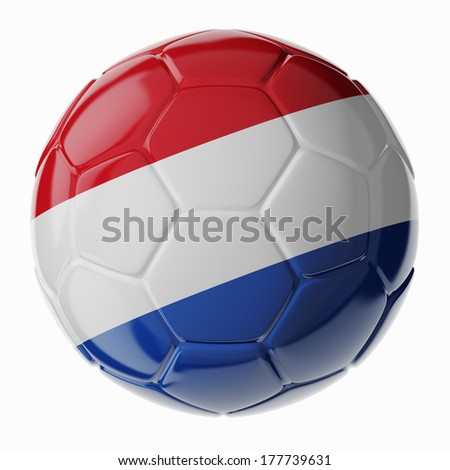 Football/soccer ball with flag of Netherlands 3D render - stock photo