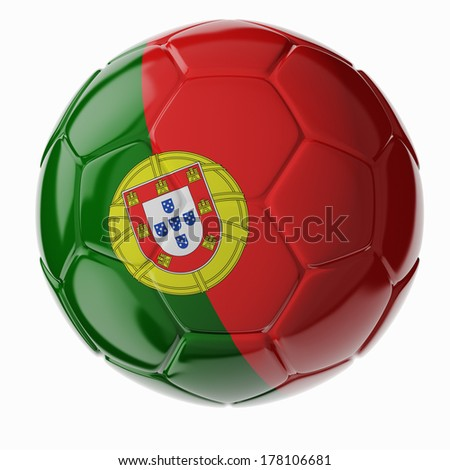 Football/soccer ball with flag of Portugal 3D render - stock photo