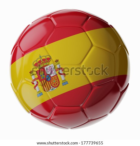 Football/soccer ball with flag of Spain 3D render - stock photo