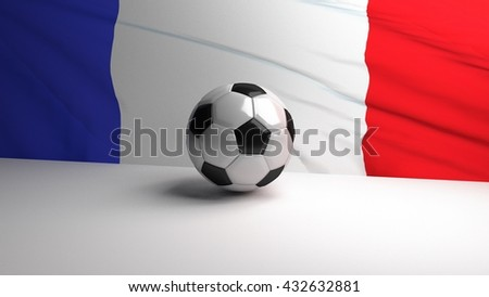 Football / soccer ball with french flag in background. 3D render
