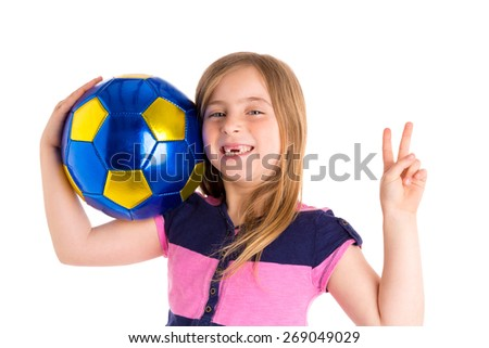 Football soccer blond kid girl happy player with ball on white background - stock photo