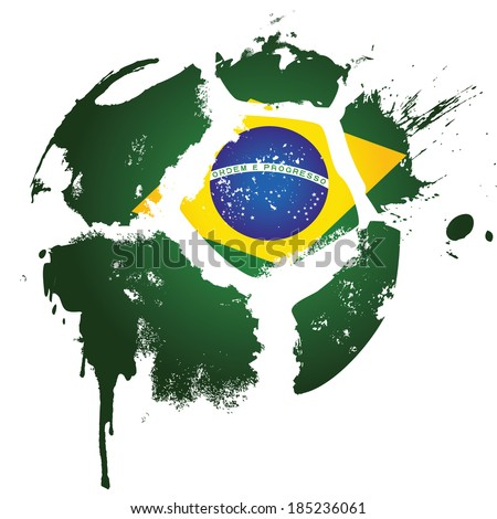 Football / Soccer - Brazil  - suitable for posters, flyers, brochures, banners, badges, labels, wallpapers, web design, advertising, publicity or any branding. - stock photo