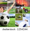 football - soccer composition with a grid - stock photo