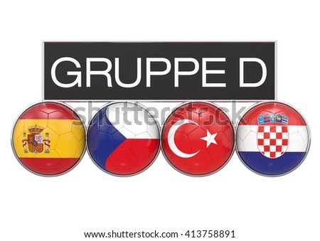 Football, soccer European Championships 2016 Pool, GroupD teams, german version, 3D-Rendering
