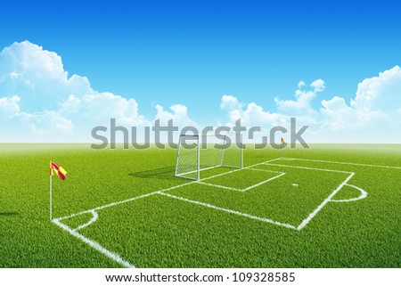 Football (soccer) goal, penalty zone and corner flag on clean empty playing field. Concept for team, championship, league, competition poster / website design. One from collection. - stock photo