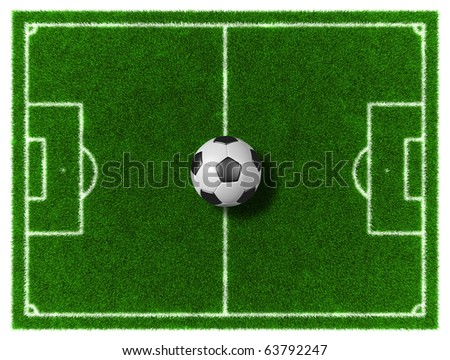 Football/Soccer grassy field with soccer ball - stock photo