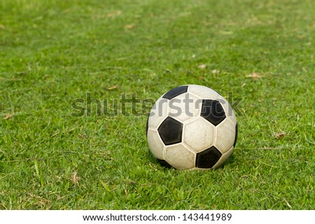 football (soccer) on green field