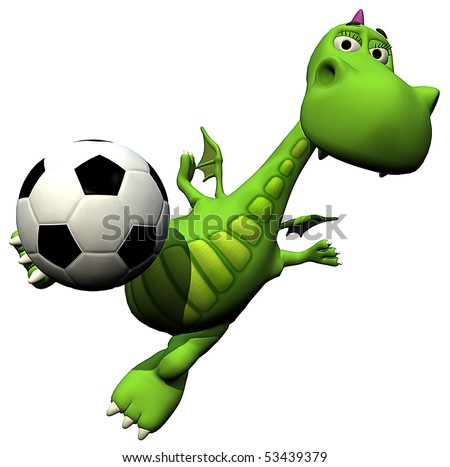 football - soccer player volley - baby dragon baby - stock photo