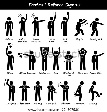 Football Soccer Referees Officials Hand Signals Stick Figure Pictogram Icons - stock photo