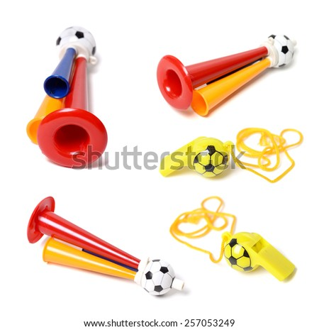 Football soccer triple fan trumpet and whistle on white background - stock photo